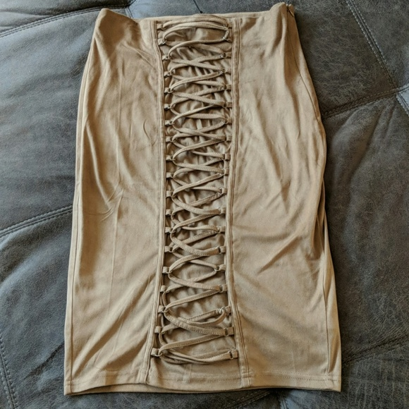 Rehab Dresses & Skirts - Rehab Tan Suede Skirt Sz L